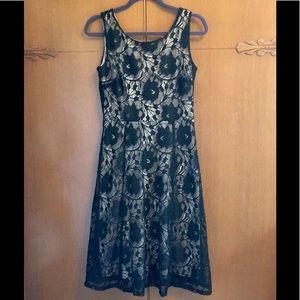 Enfocus Studios Lace Midi Sleeveless Dress Blk Tan